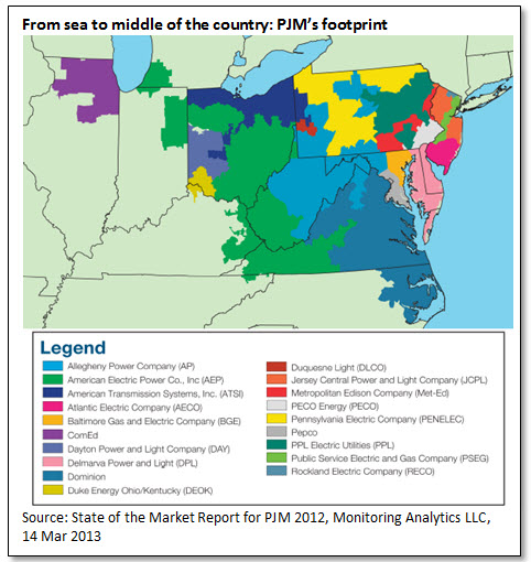 From sea to middle of the country: PJM's footprint